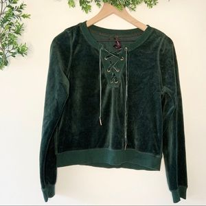 Betsey Johnson Lace Up Velour Pullover Green Small